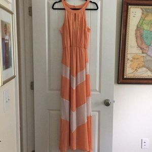Beautiful Peach and White Chiffon Maxi Dress